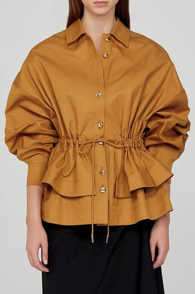 Acler Ladies Caramel Collared Jacket with Tiered Peplum and Detachable Waist Tie