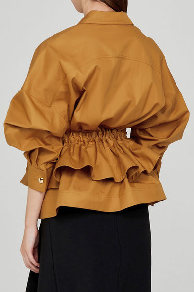 Acler Ladies Caramel Collared Jacket with Tiered Peplum and Detachable Waist Tie - Back View