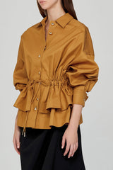 Acler Ladies Caramel Collared Jacket with Tiered Peplum and Detachable Waist Tie - Side View