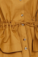 Acler Ladies Caramel Collared Jacket - Tiered Peplum and Detachable Waist Tie Detail