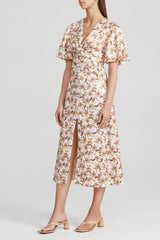 Acler Ladies Ivory Midi Dress with Short Sleeves in Orange Floral Pattern