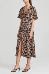 Acler Short Sleeved Black Midi Dress with Orange Floral Pattern