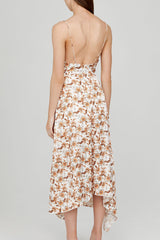 Acler Ivory Midi Dress with v-neckline, Asymmetrical Hemline and Orange Floral Pattern - Back Detail