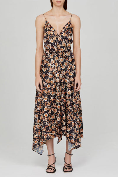Acler Black Midi Dress with Low V-Neckline, Asymmetrical Hem and Orange Floral Pattern
