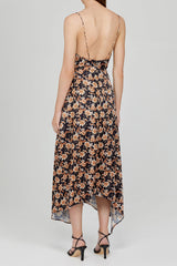 Acler Black Midi Dress with Low V-Neckline, Asymmetrical Hem and Orange Floral Pattern - Back View