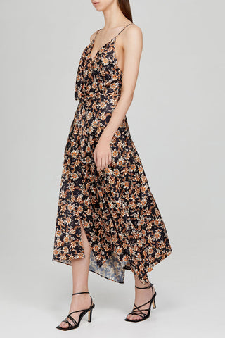 Acler Black Midi Dress with Low V-Neckline, Asymmetrical Hem and Orange Floral Pattern - Side View