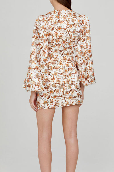 Acler Ladies Long Sleeved Ivory Mini Dress with Orange Floral Pattern