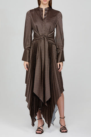 Acler Long Sleeved Chocolate Brown Dress with Asymmetrical Hemline