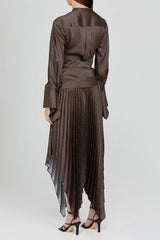 Acler Long Sleeved Chocolate Brown Dress with Asymmetrical Hemline - Back Detail