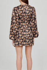 Acler Ladies Long Sleeved Black Mini Dress with Orange Floral Pattern - Back Detail