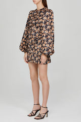 Acler Ladies Long Sleeved Black Mini Dress with Orange Floral Pattern