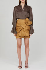 Acler Long Sleeved Chocolate Brown Blouse with Blouson Sleeves