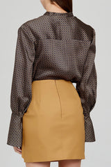 Acler Long Sleeved Chocolate Brown Blouse with Blouson Sleeves - Back Detail
