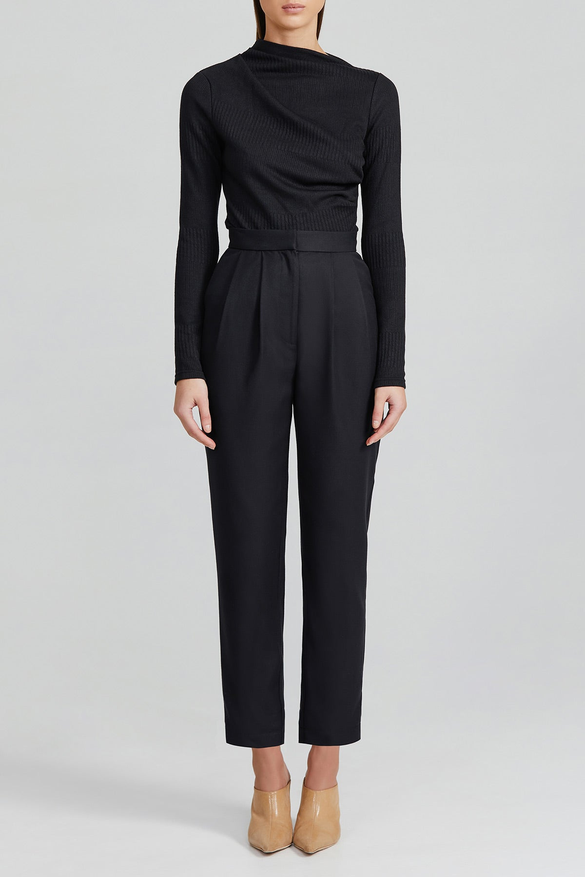 Acler Ladies Straight Leg Black Pant with Zip and Gold Button Fastening and Front Pleats
