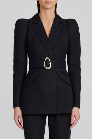 Acler Ladies Fully Lined Black Single-Breasted Blazer with Detachable Belt with Gold Buckle and Dual pockets