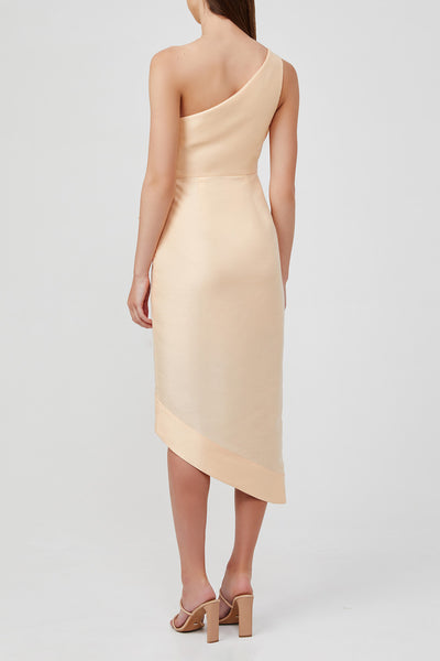 Acler Peach, One-Shoulder Midi Dress with Gathering on Waist and Exaggerated Tuck and Fold Detail.