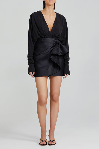 Acler Black Mini Skirt with Tuck and Fold Detail