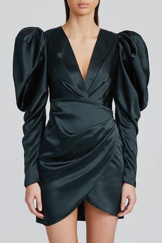 Acler Black Mini Dress with Plunging v-neckline, Ruching Detail, Long Sleeves with Exaggerated Shoulders and Curved hem