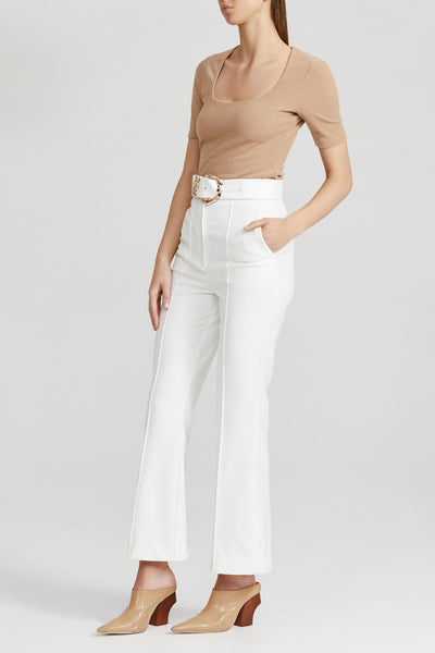 Acler White Ladies Trouser with High Waist, Gold Belt Buckle and Kick Flare Hem