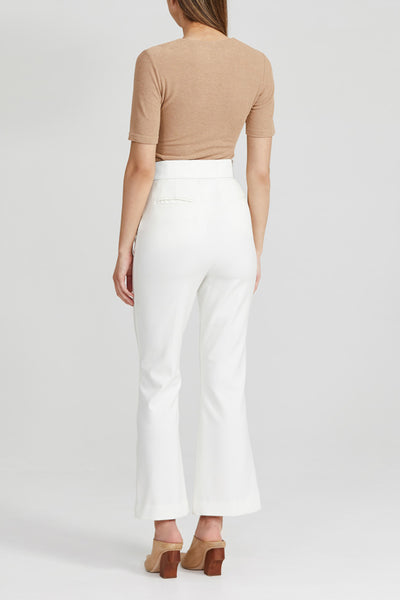 Acler White Ladies Trouser with High Waist and Kick Flare Hem - Back View