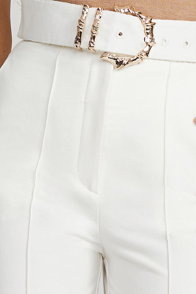 Acler White Ladies Trouser with High Waist - Gold Belt Buckle Detail