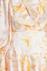 Acler pastel pink fabric with orange marble pattern - fitted waist detail