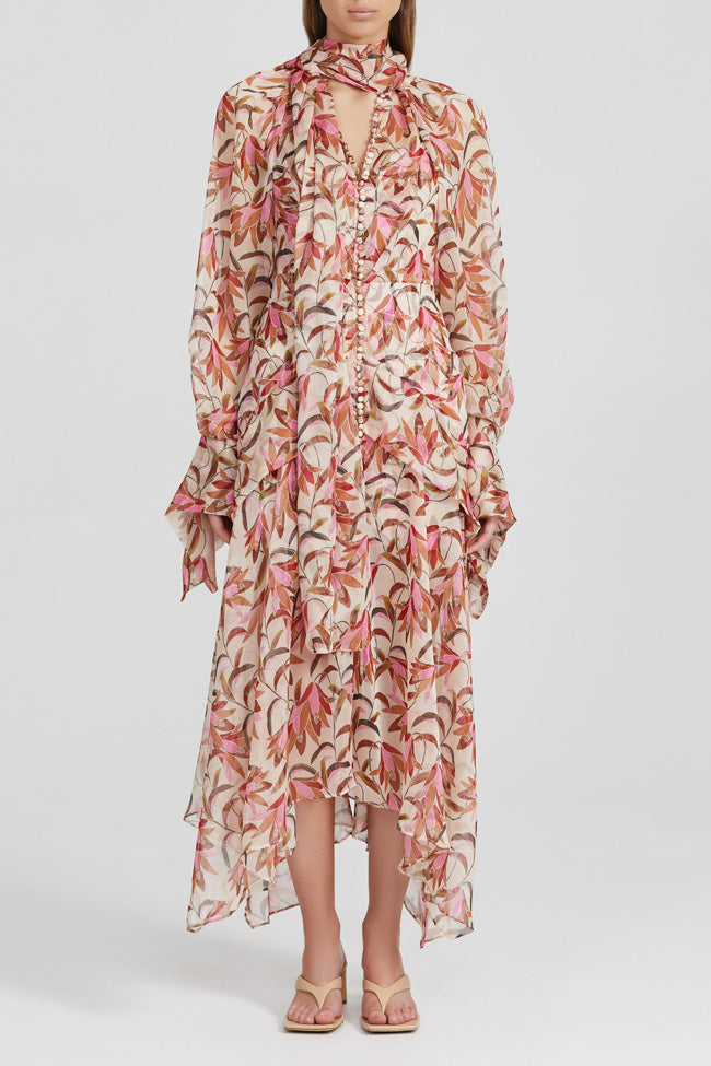 Acler Pink, Floral, Long Sleeved Midi Dress with Frill Cuffs and Tie Neckline