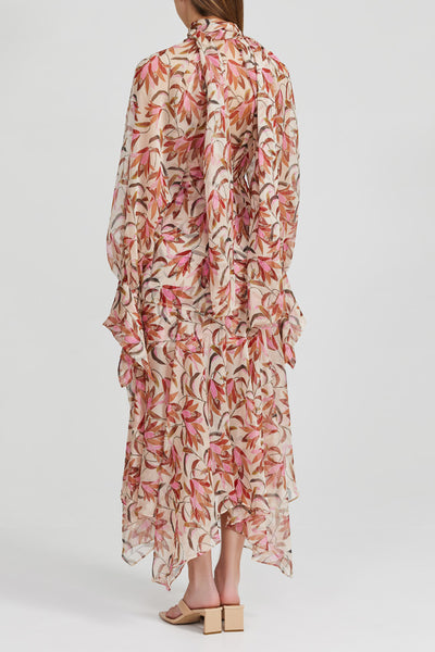 Acler Pink, Floral, Long Sleeved Midi Dress with Frill Cuffs and Tie Neckline - Back Detail