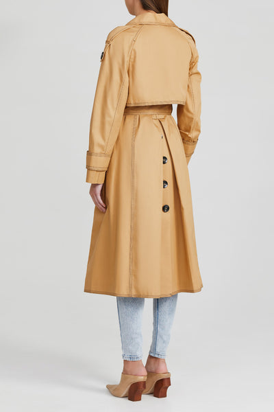 Acler Biscuit Brown, Ladies Double Breasted Trench Coat with Waist Tie and Contrast Stitching - Back View