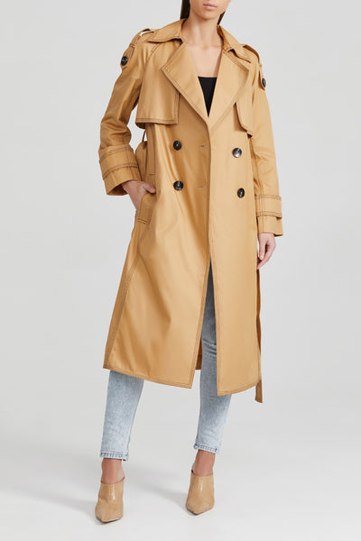Acler Biscuit Brown, Ladies Double Breasted Trench Coat with Waist Tie and Contrast Stitching