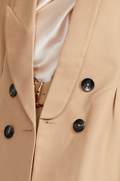 Acler Ladies Biscuit Brown, Long Sleeved Blazer - Double Breasted Button Detail