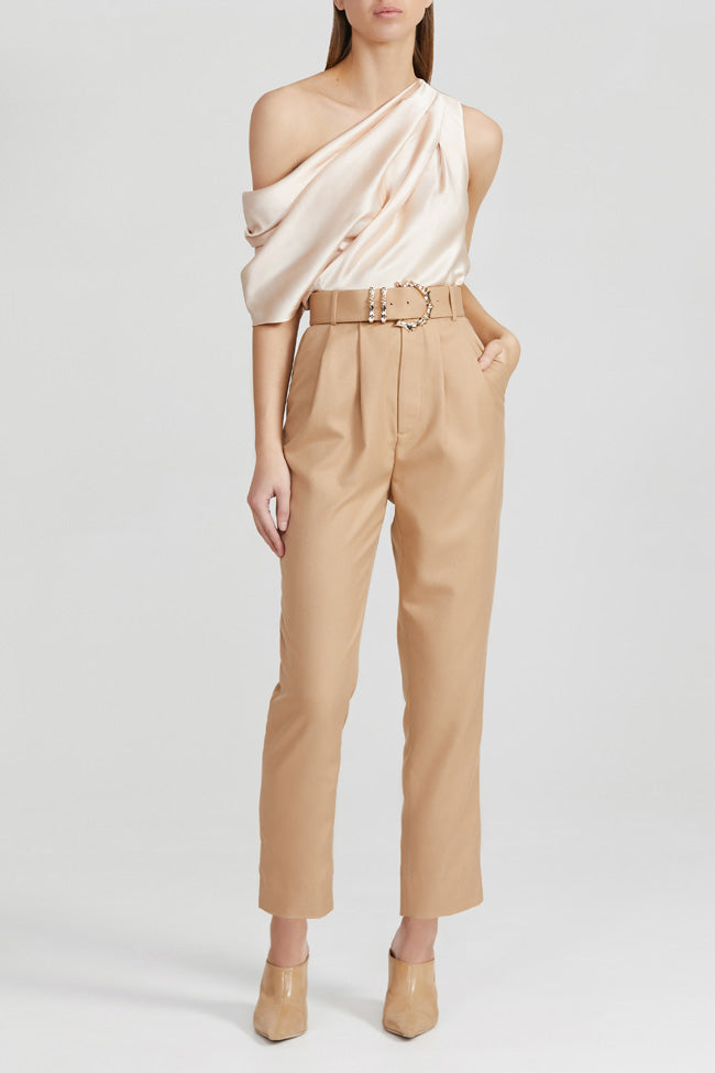 Acler Ladies Biscuit Brown, High Waisted Trousers