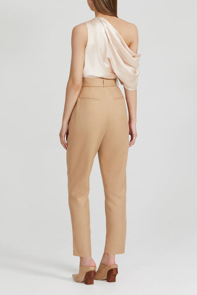 Acler Ladies Biscuit Brown, High Waisted Trousers - Back View