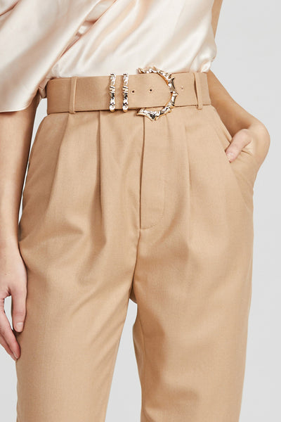 Acler Ladies Biscuit Brown, High Waisted Trousers - Gold Buckle Detail