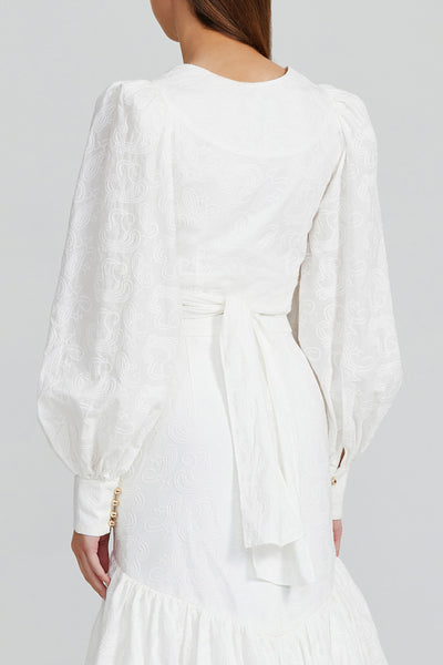 Acler Ivory Cropped Wrap Top with Long Balloon Sleeves and Gold Button on Cuffs - Back View