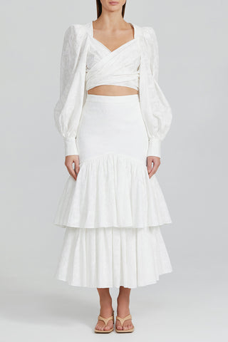 Acler Ivory Full Length Skirt with Double Tier Design