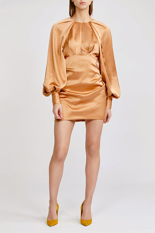 Acler Paringa mini dress with high neck, gathered detail and exaggerated sleeves in nude (beige/tan)