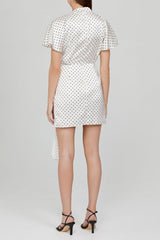 Acler Ladies Ivory Mini Dress with Draping Detail and Black Polka Dots - Back Detail