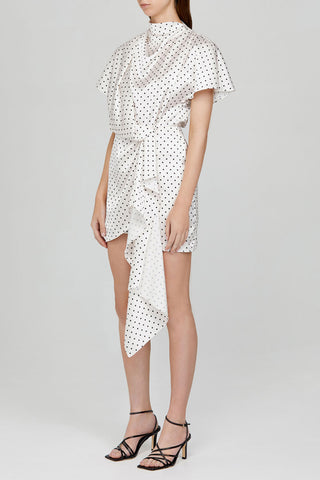 Acler Ladies Ivory Mini Dress with Draping Detail and Black Polka Dots