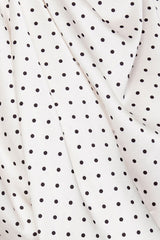 Acler Ladies Ivory Mini Dress with Draping Detail and Black Polka Dots - Pattern Detail