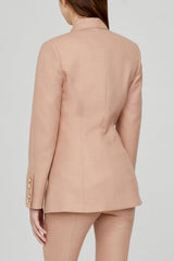 Acler Ladies Double Breasted, Dusty Pink Blazer with Gold Buttons - Back Detail