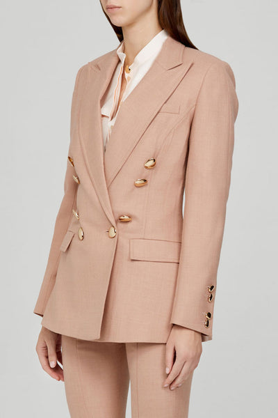 Acler Ladies Double Breasted, Dusty Pink Blazer with Gold Buttons