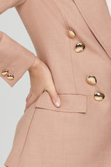 Acler Ladies Double Breasted, Dusty Pink Blazer - Gold Button Detail