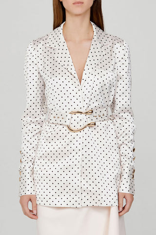 Acler Ladies Long Sleeved Ivory Blouse with Black Polka Dots