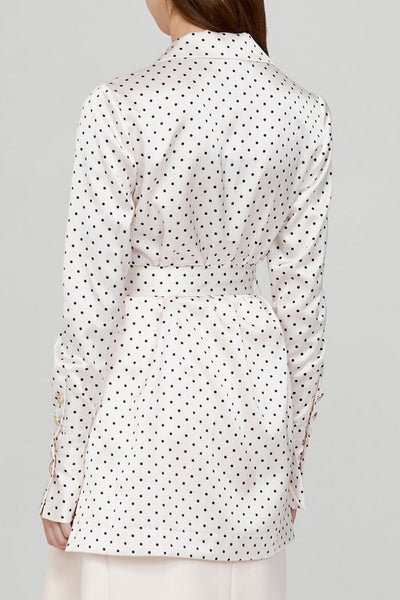 Acler Ladies Long Sleeved Ivory Blouse with Black Polka Dots - Back View