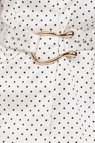 Acler Ladies Long Sleeved Ivory Blouse with Black Polka Dots - Gold Harp Belt Detail