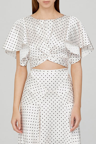Acler Ladies Cropped Top with Flounce Sleeves in Ivory with Black Polka Dots