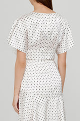 Acler Ladies Cropped Top with Flounce Sleeves in Ivory with Black Polka Dots - Back View