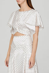 Acler Ladies Cropped Top with Flounce Sleeves in Ivory with Black Polka Dots - Side View