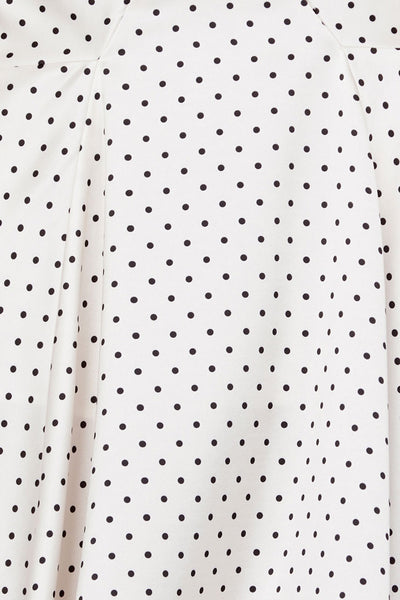 Acler Ladies Cropped Top with Flounce Sleeves in Ivory with Black Polka Dots - Pattern Detail